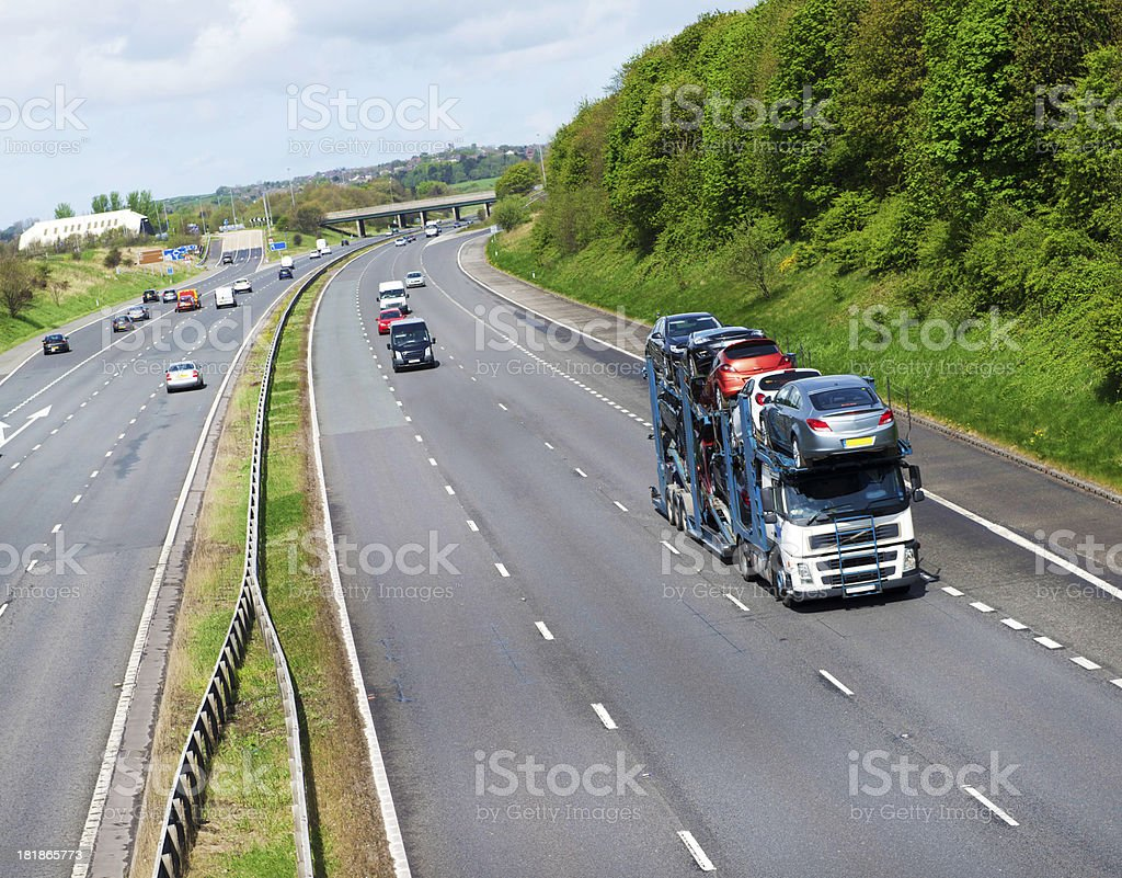 Car Transporter on UK Motorway stock photo