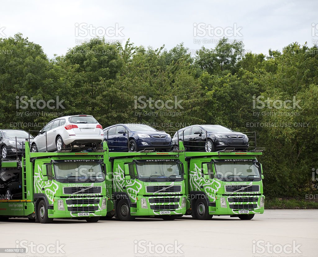 Car transporters in a line royalty-free stock photo