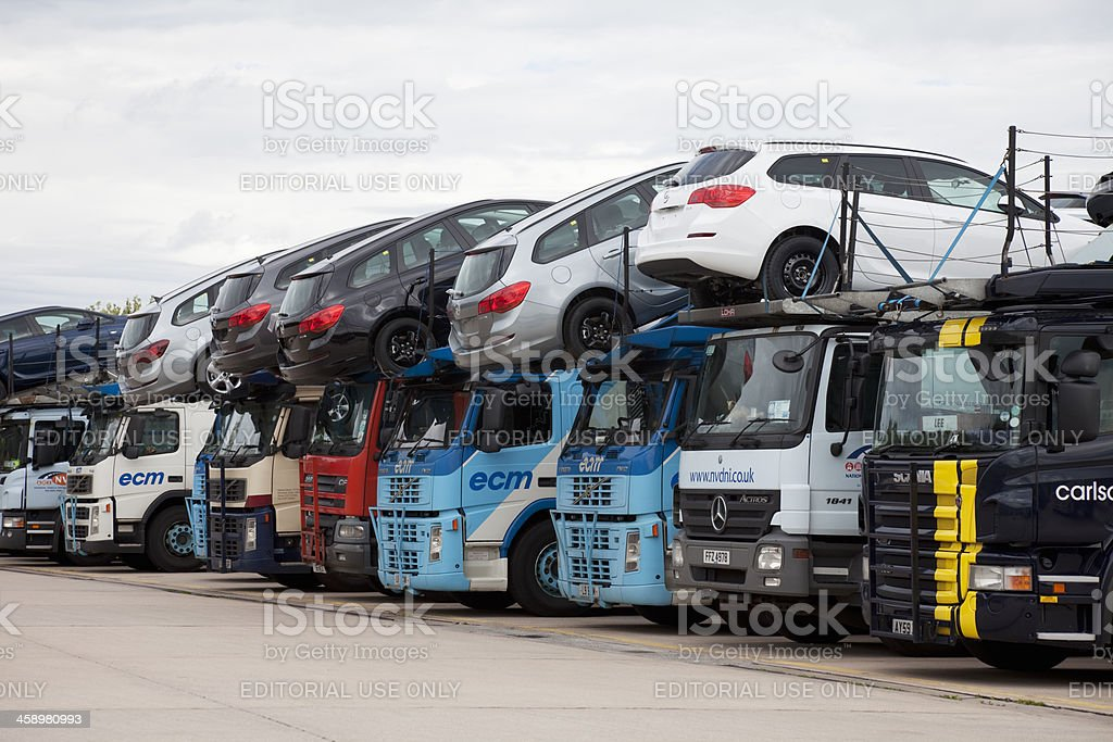 Car transporters stock photo