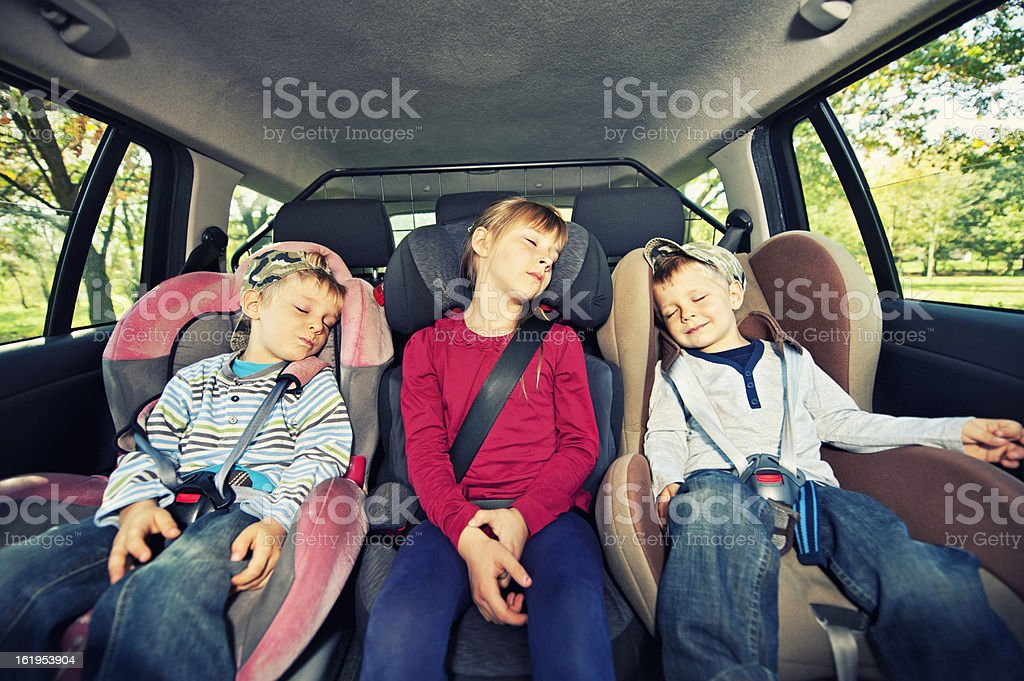 Car travel with kids stock photo