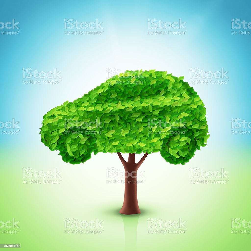 Car tree illustration stock photo