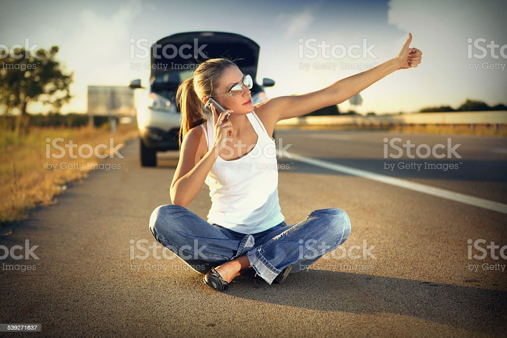 Car trouble. stock photo