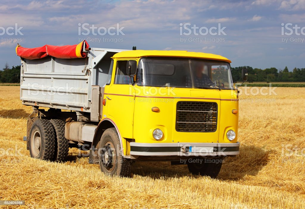 Car Truck on wheat field, harvesting stock photo