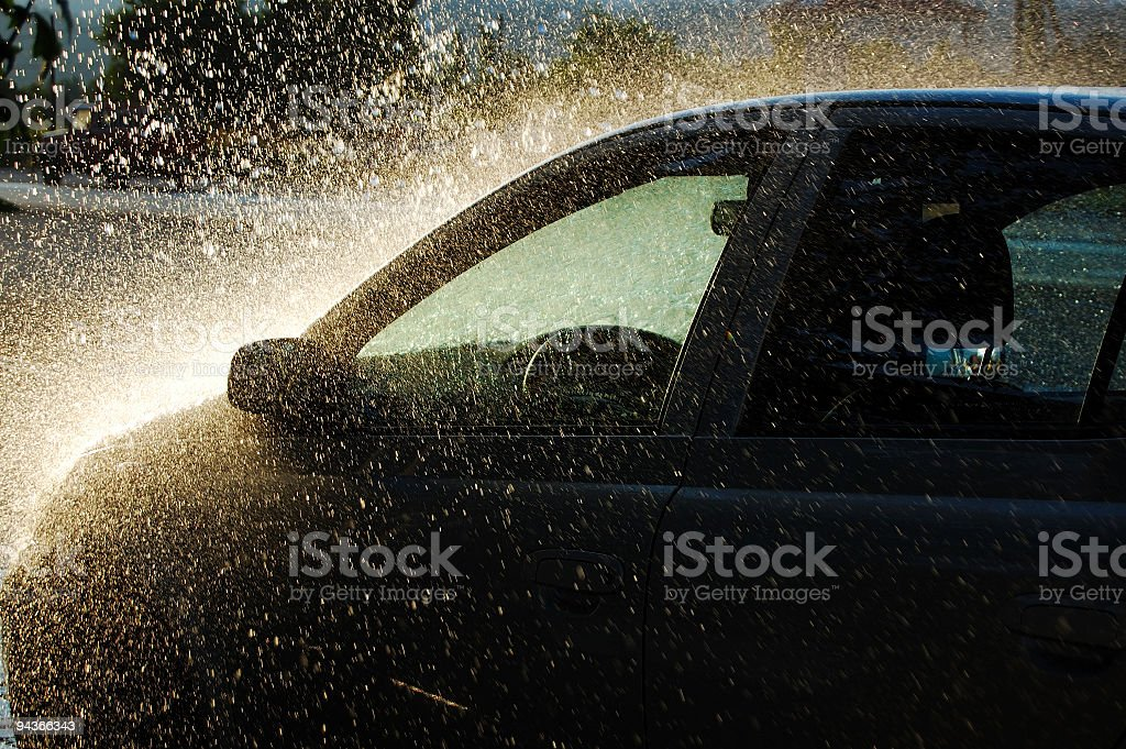 Car under Heavy Rain stock photo