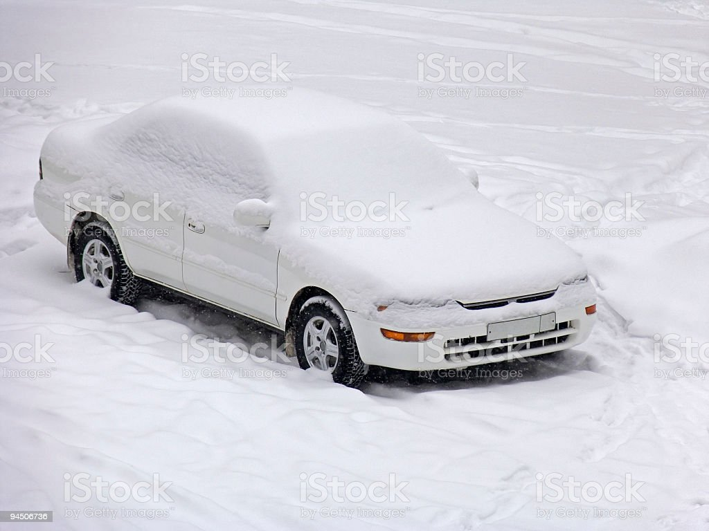 Car under the snow royalty-free stock photo