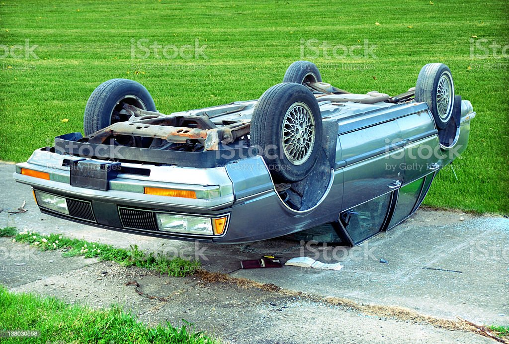 car upside down stock photo
