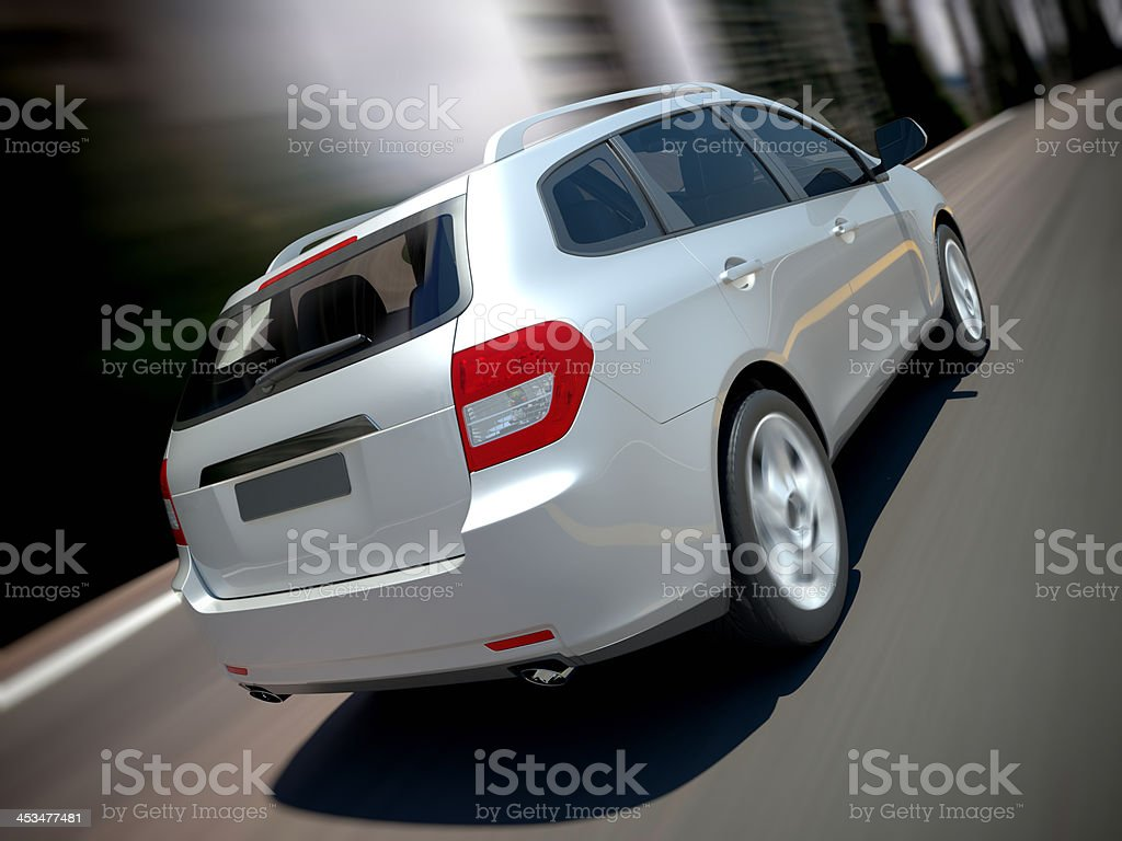 SUV car urban driving royalty-free stock photo