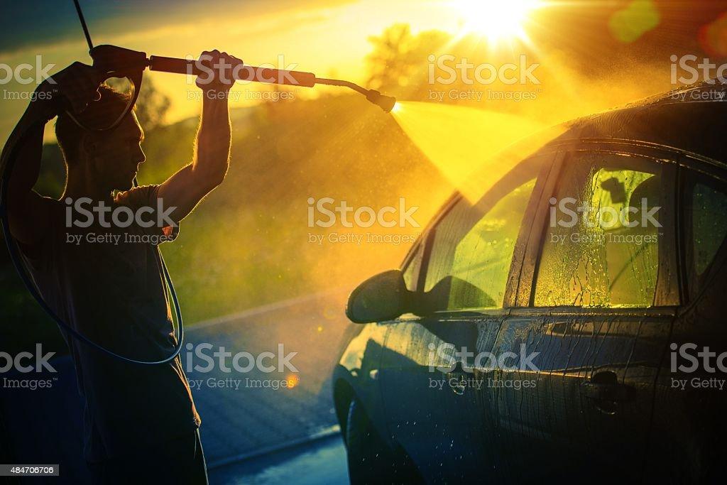 Car Washing at Sunset stock photo