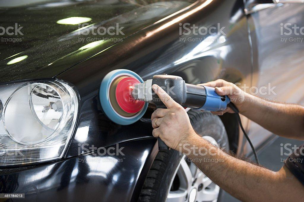 Car waxing stock photo