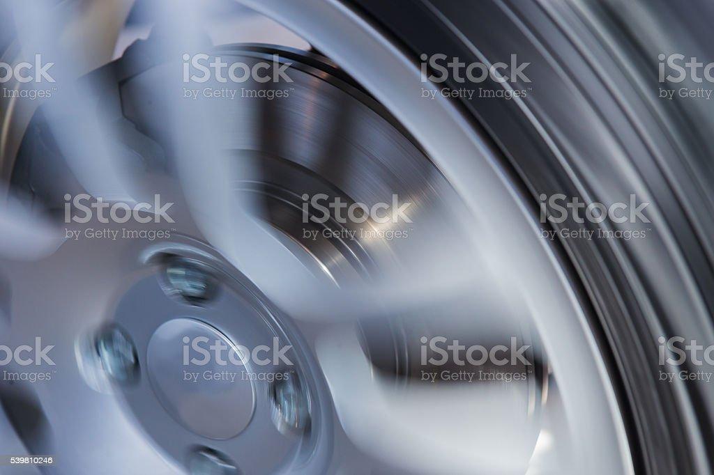 car wheel and brake disc close up stock photo
