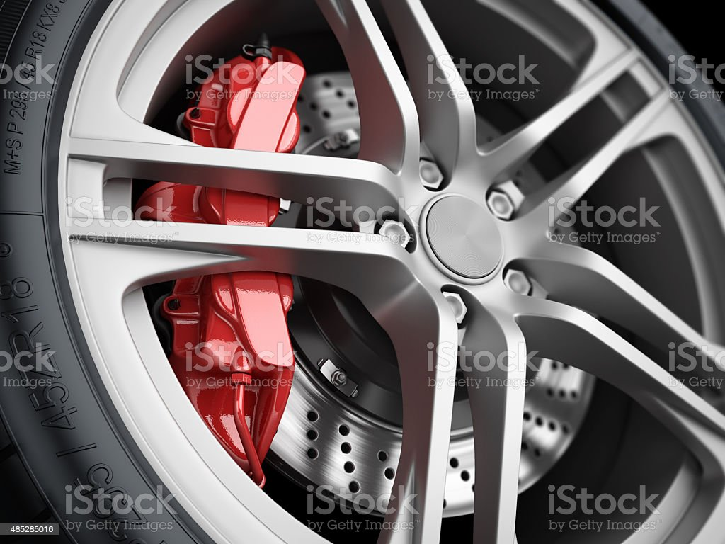 Car wheel and brake system. Closeup. stock photo
