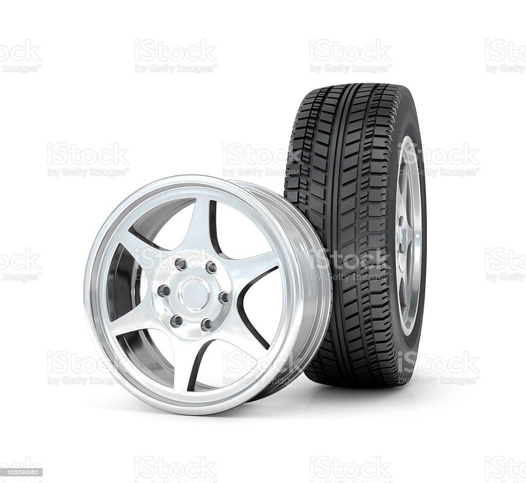 Car wheel and rims. stock photo