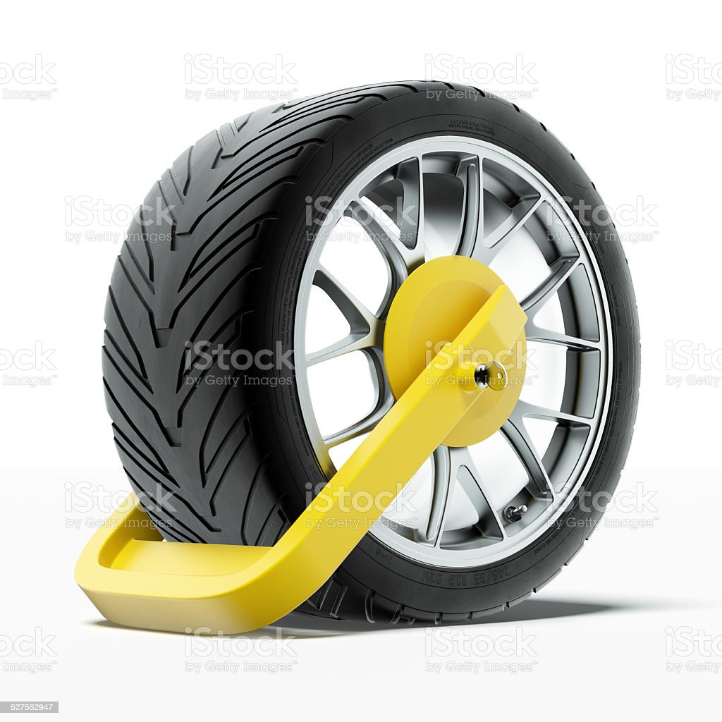 Car wheel clamp stock photo