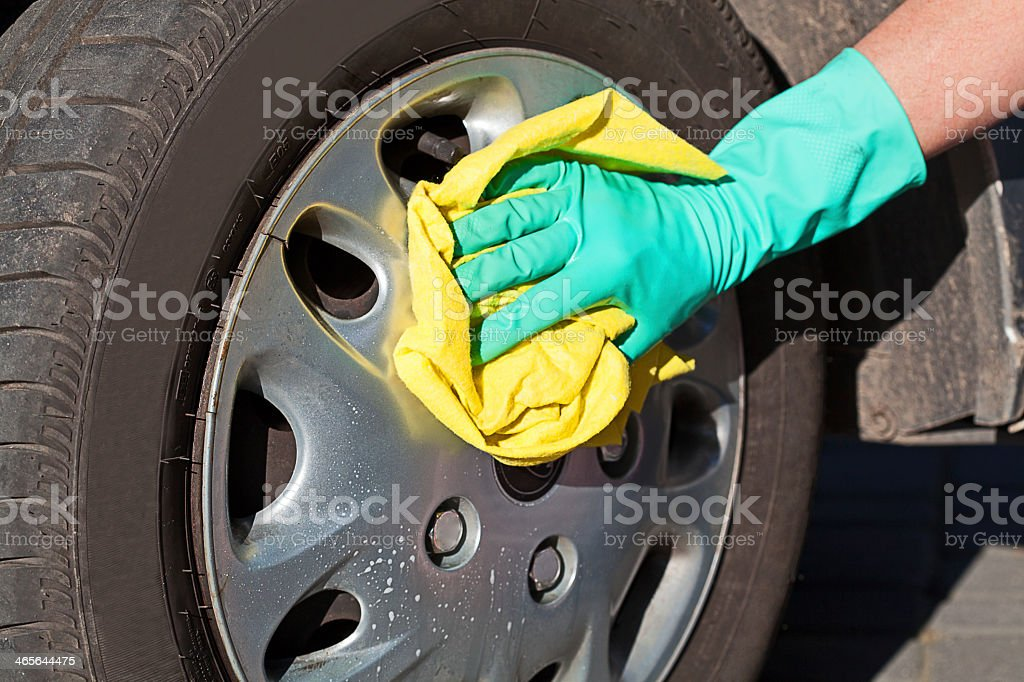 Car wheel cleaning royalty-free stock photo