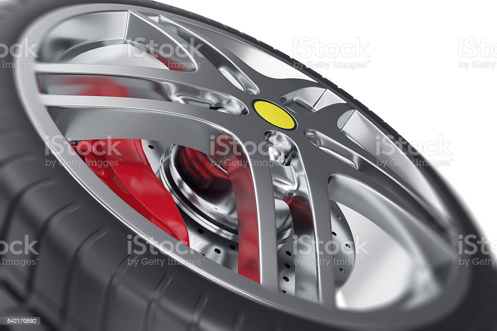 Car wheel close-up view with focus effect. 3d illustration stock photo