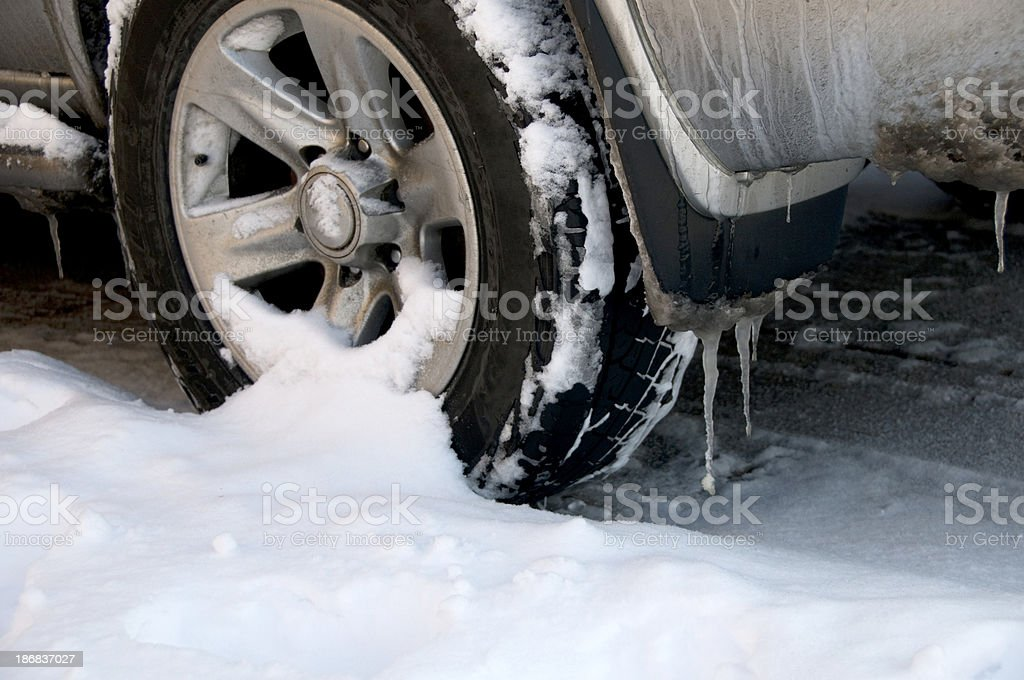 Car Wheel Covered in Snow stock photo