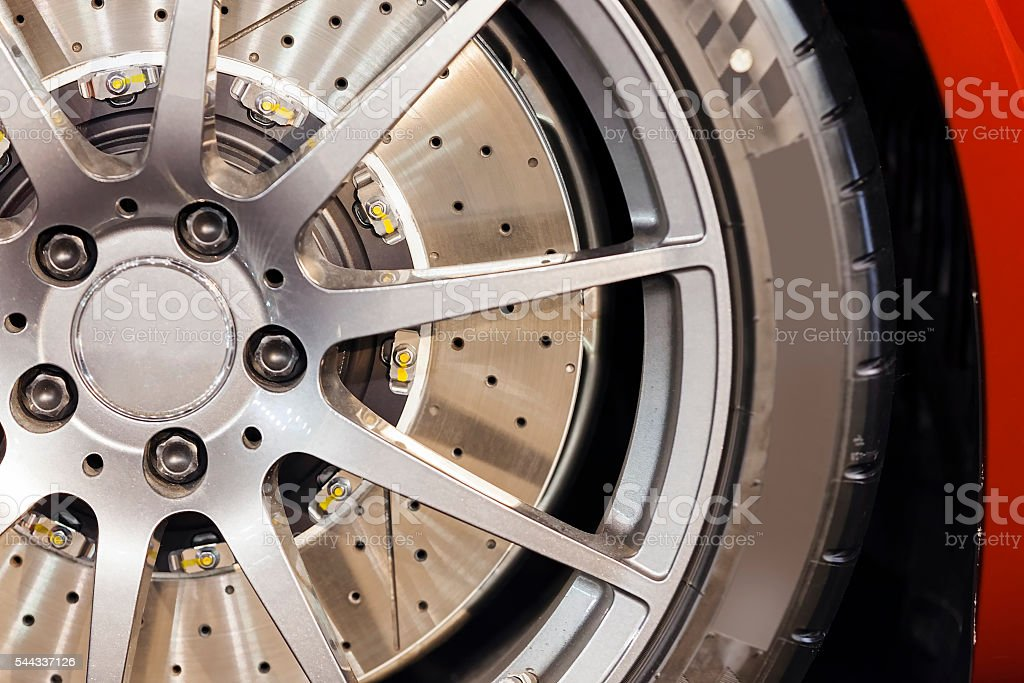Car wheel detail stock photo