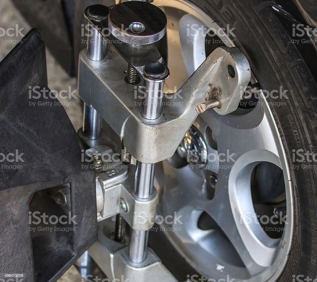 Car wheel fixed with computerized stock photo