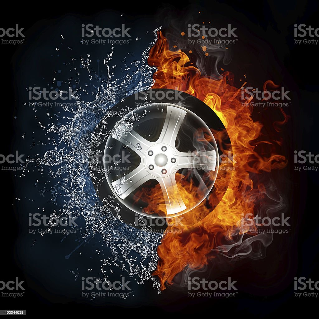 Car Wheel in Flame and Water royalty-free stock photo