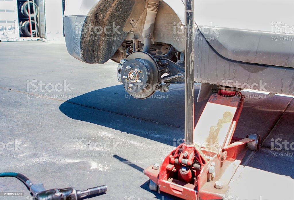 Car Wheel is Being Maintained stock photo
