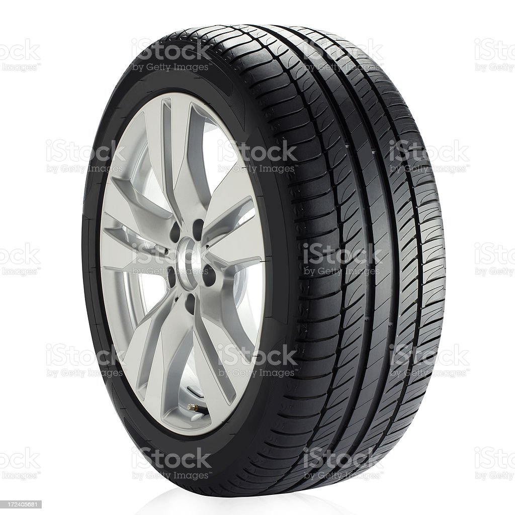 A car wheel isolated on a white background royalty-free stock photo