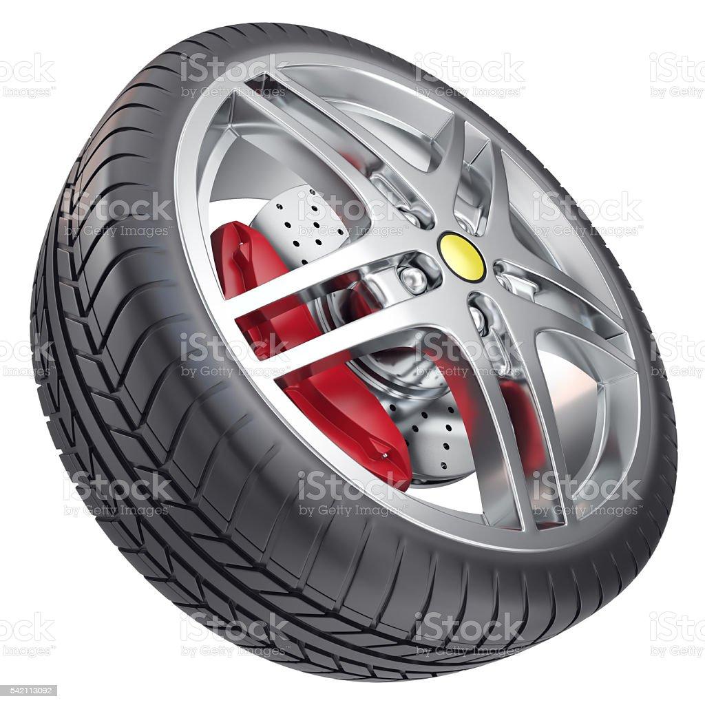 Car wheel isolated on white background. 3d illustration stock photo