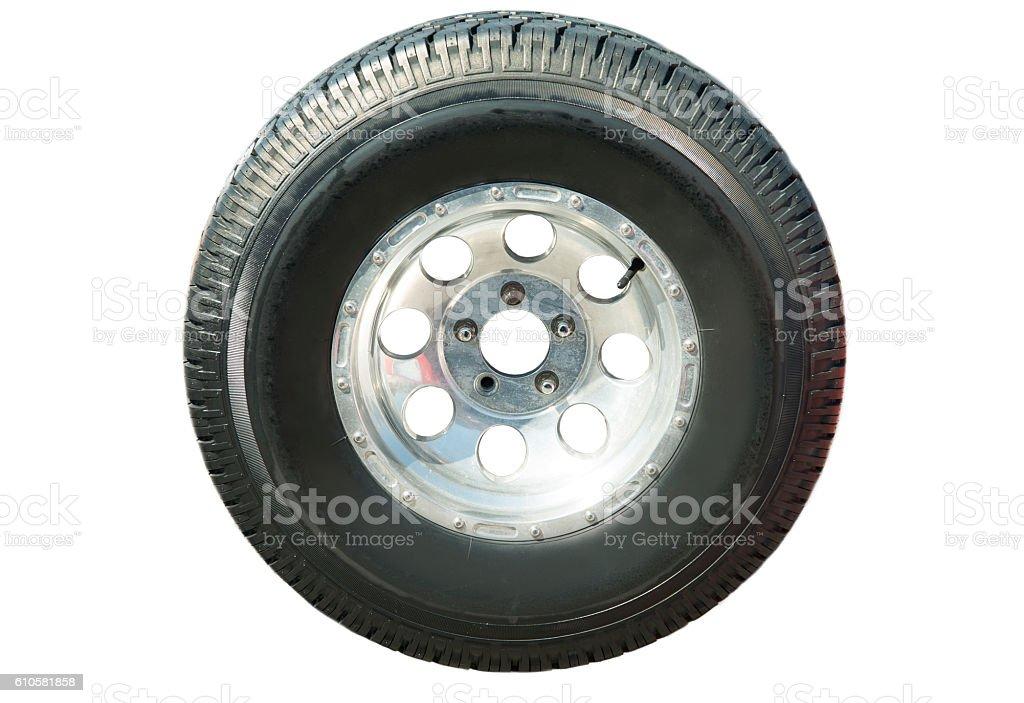Car Wheel On A White Background stock photo