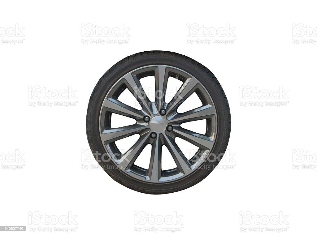 Car wheel on isolated; stock photo