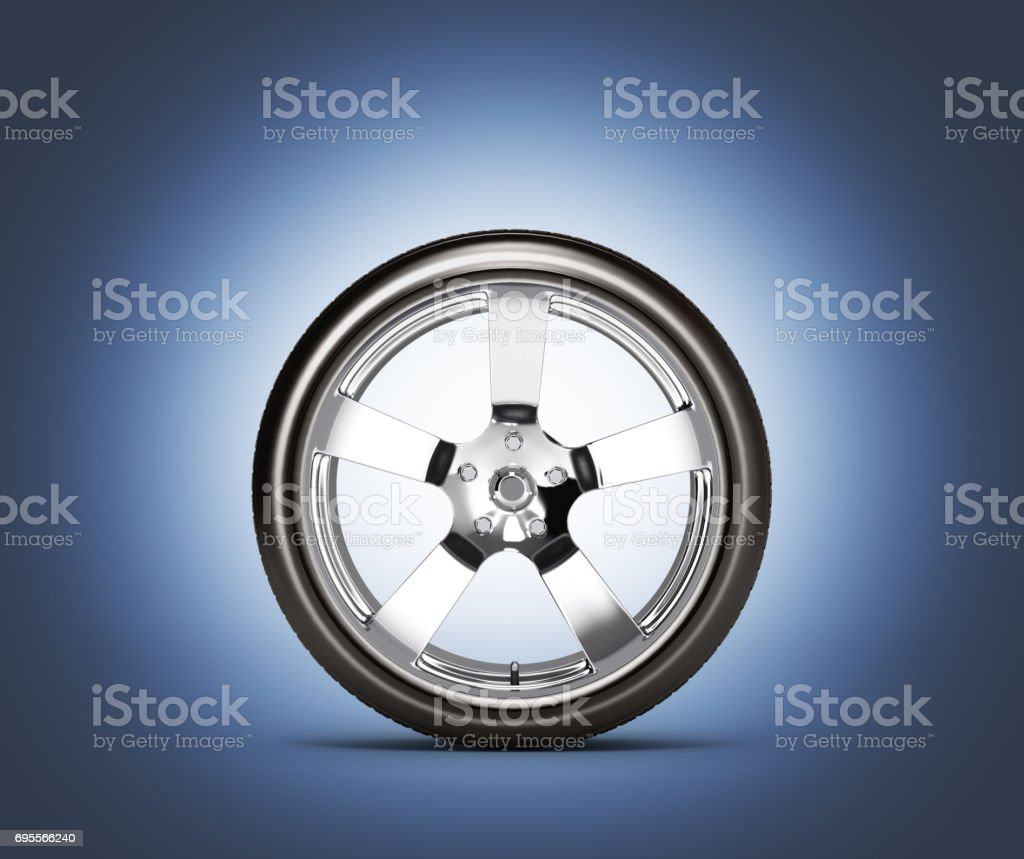 Car wheel side view isolated on dark blue background 3d without shadow stock photo