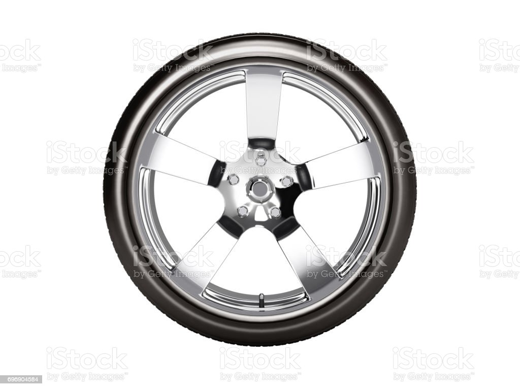 Car wheel side view isolated on white background 3d without shadow stock photo
