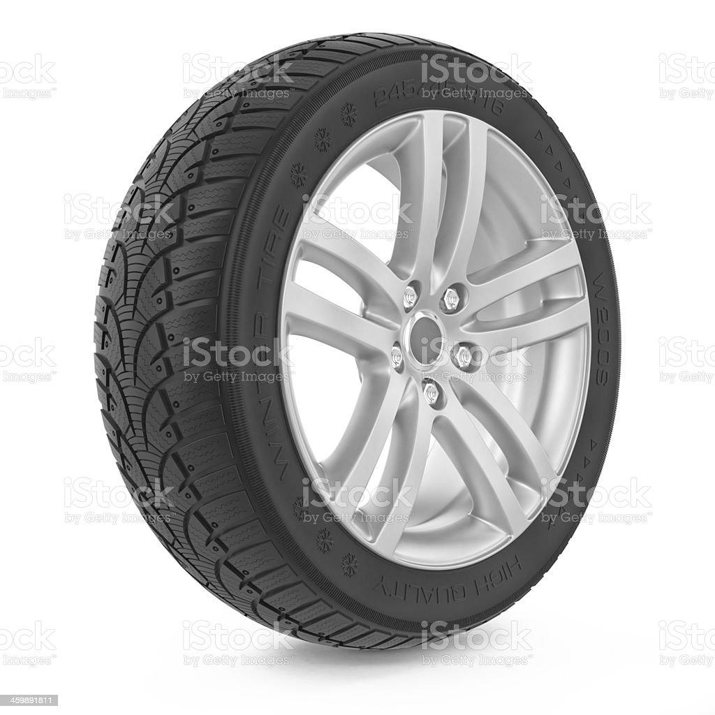 Car wheel. Winter tire stock photo