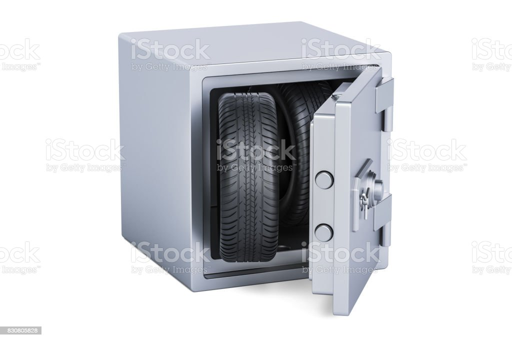 car wheels inside safe box, 3D rendering isolated on white background stock photo