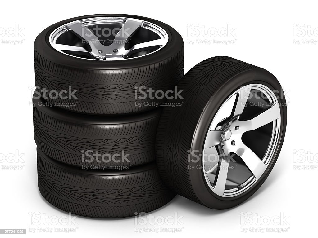 Car wheels isolated on white background 3d stock photo