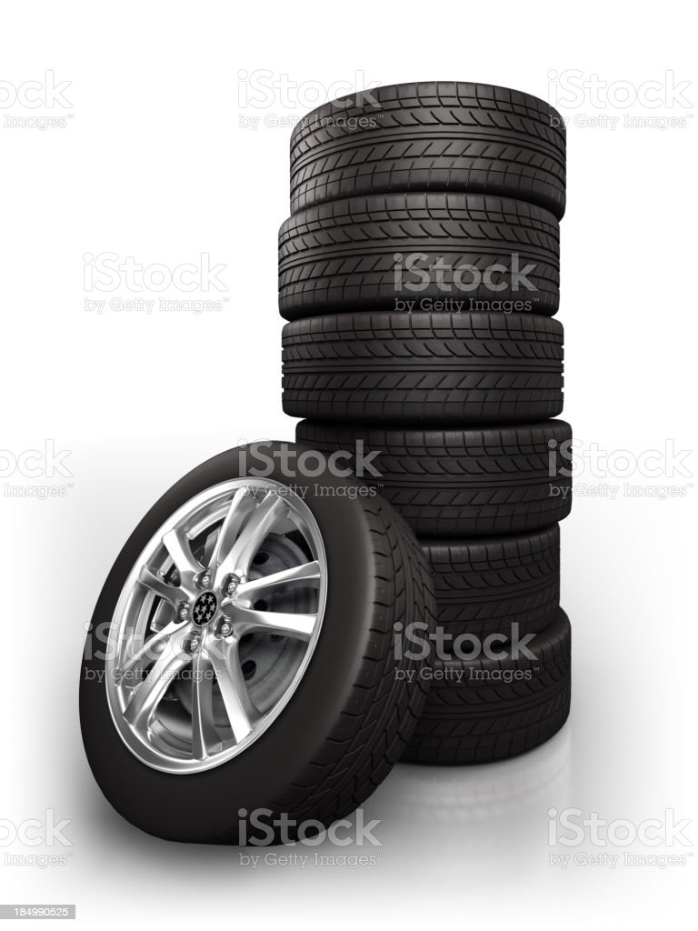 Car wheels - isolated on white with clipping path royalty-free stock photo