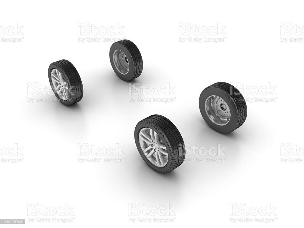 Car Wheels on White Background stock photo