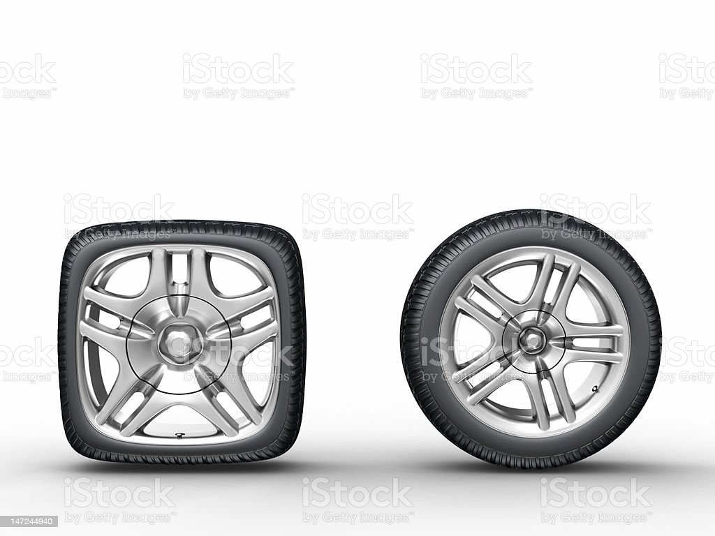 Car wheels stock photo