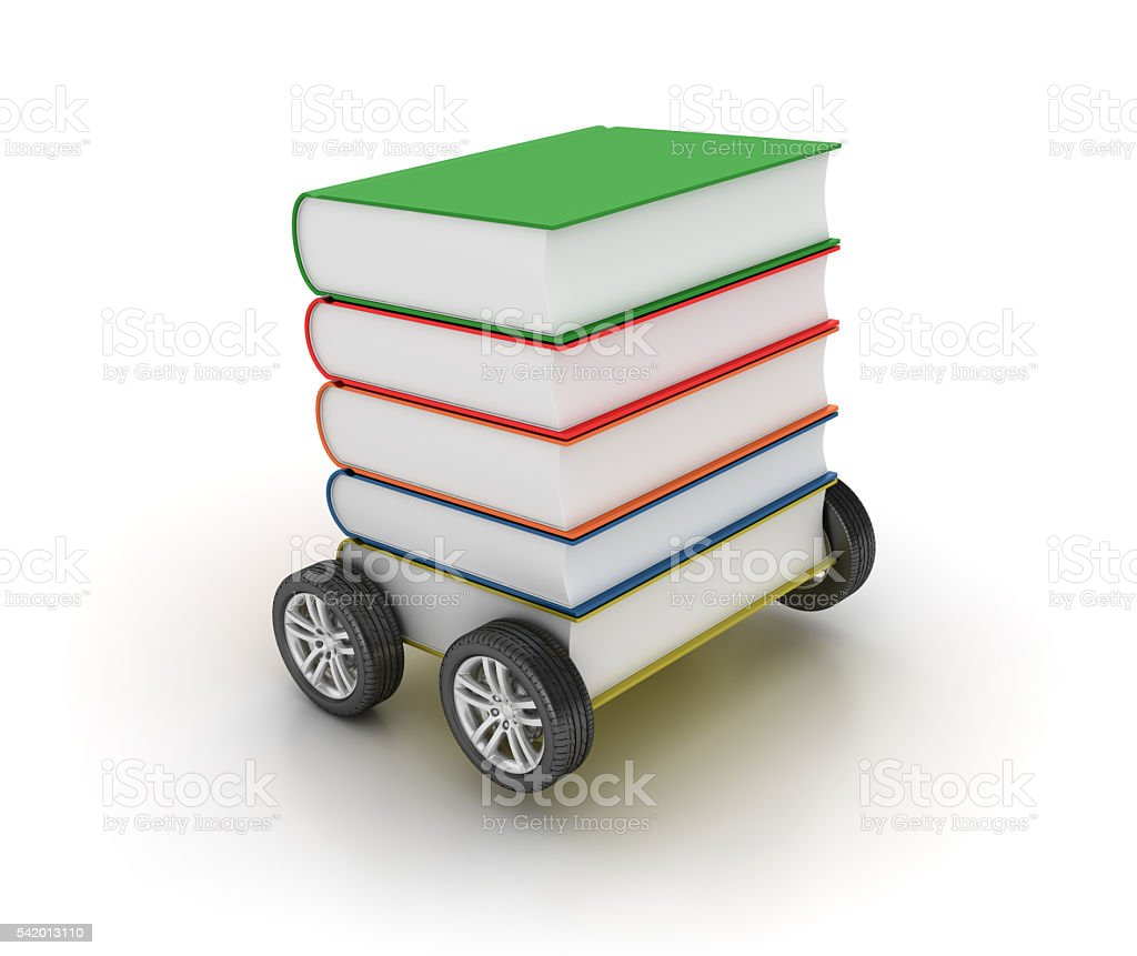 Car Wheels with Books on White Background stock photo