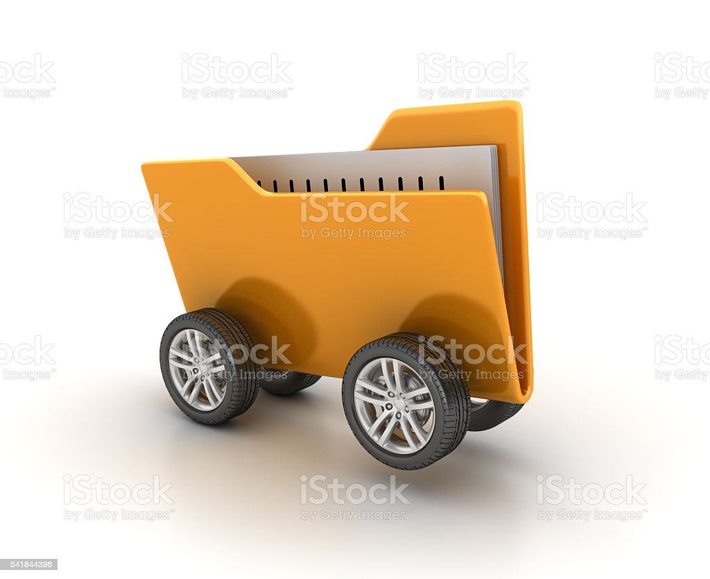 Car Wheels with Computer Folder on White Background stock photo