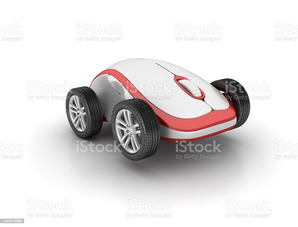 Car Wheels with Computer Mouse on White Background stock photo