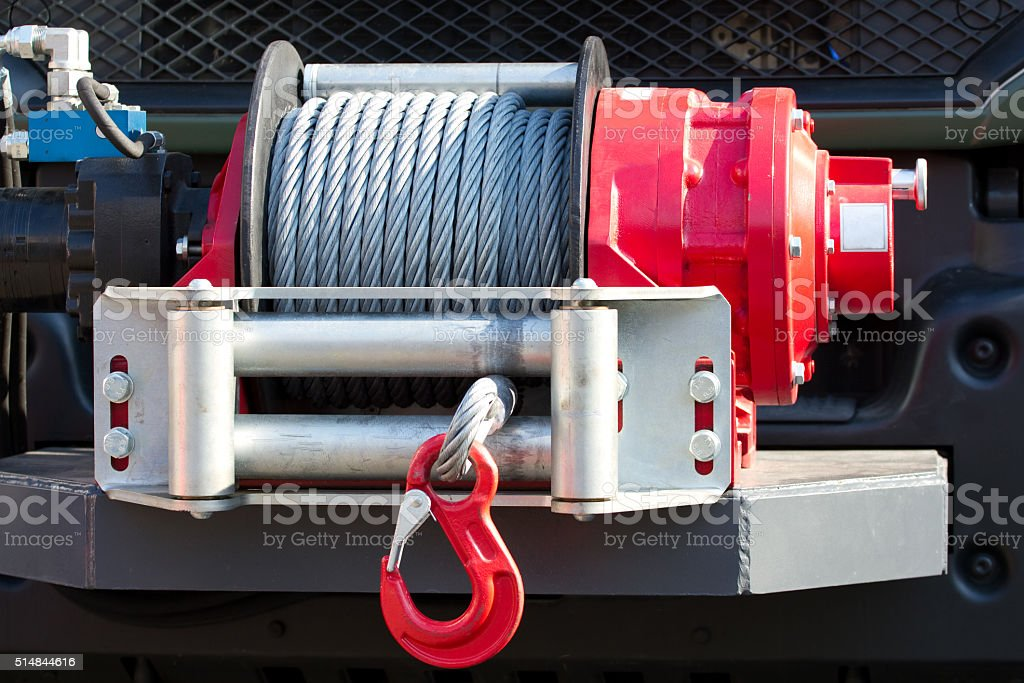 Car winch offroad stock photo