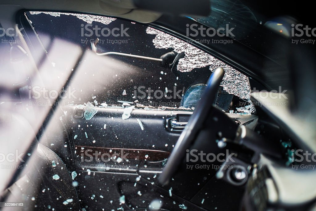 Car Window Smashed By A Thief stock photo