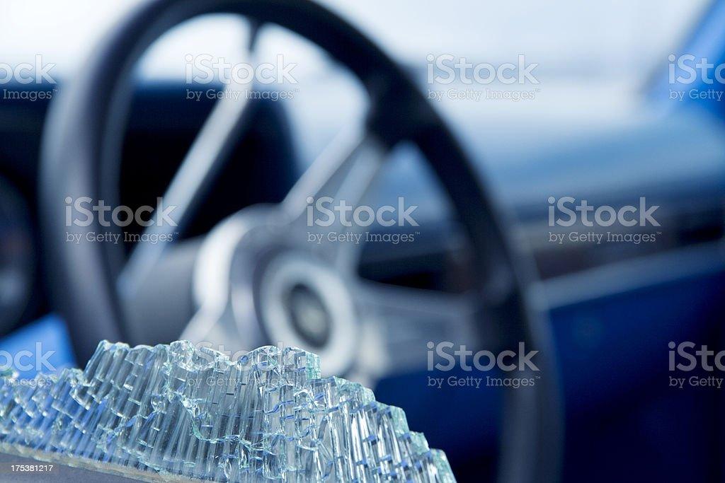 Car window smashed, close-up stock photo