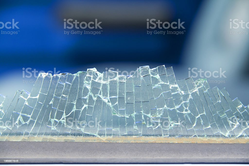 Car window smashed, close-up royalty-free stock photo