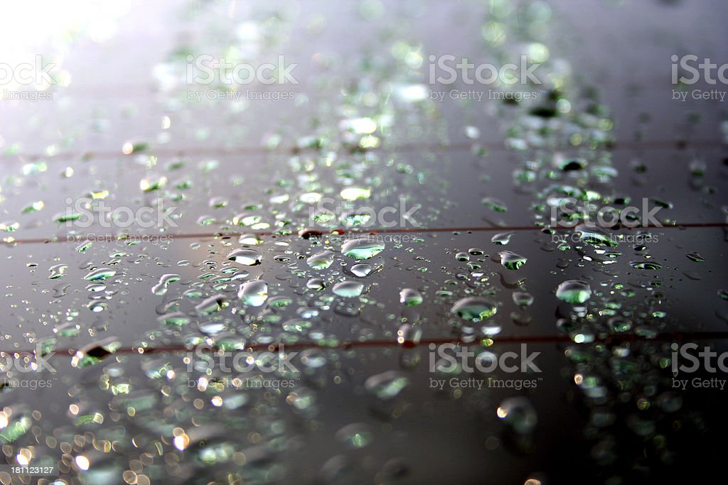 car window water droplets stock photo