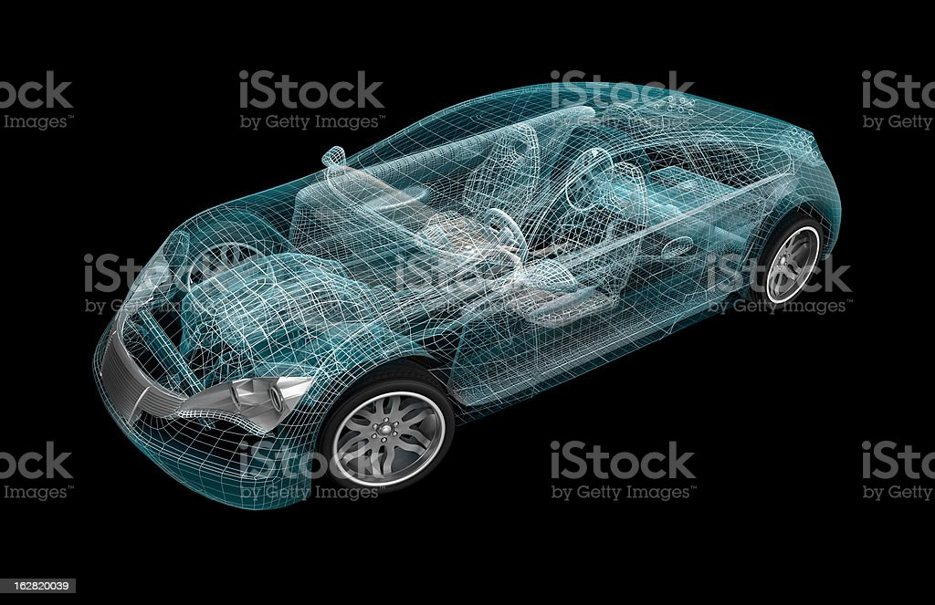 Car wireframe. My own design vector art illustration