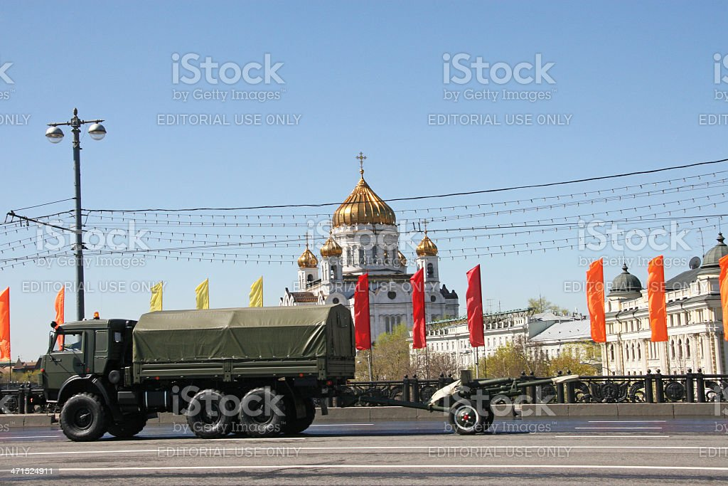 car with artillery equipment royalty-free stock photo