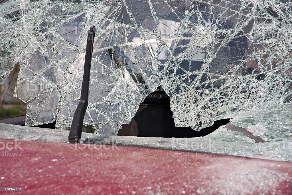 Car with broken windshield royalty-free stock photo