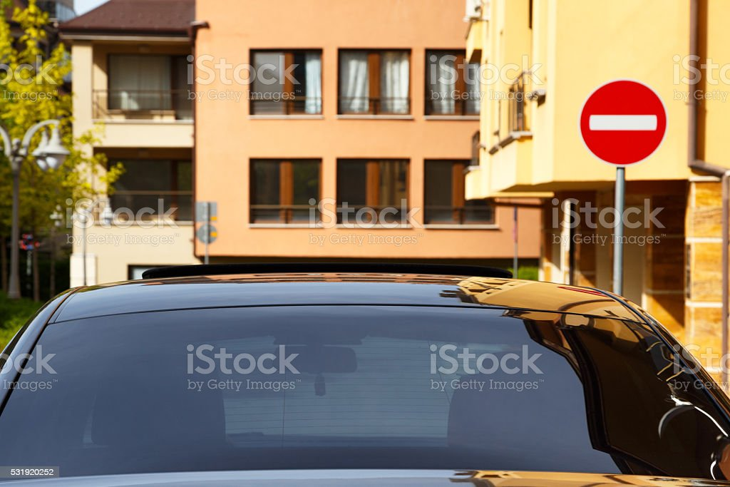 Car with dark tinted windows stock photo