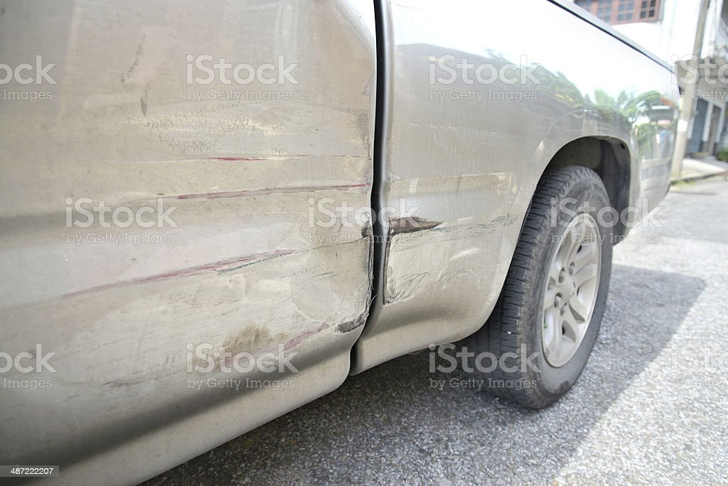 Car with dent stock photo