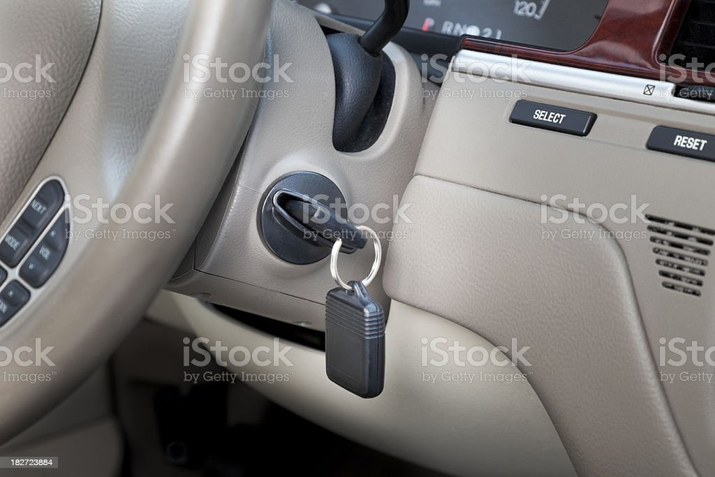 car with key in ignition lock, ready to start stock photo